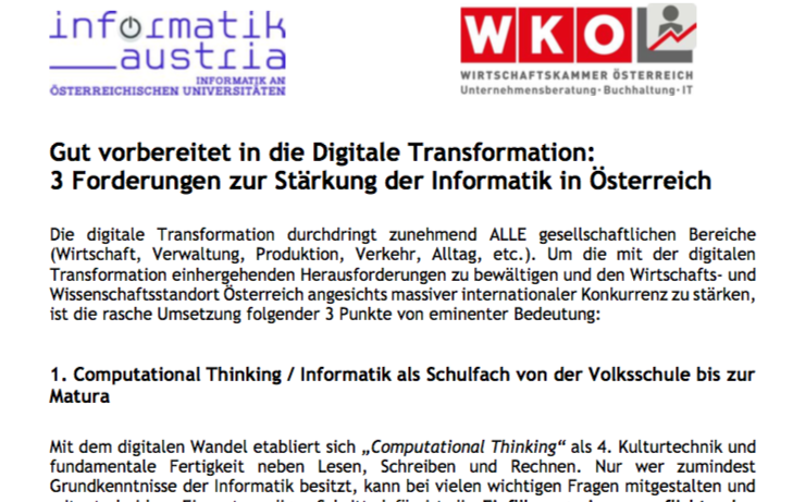 Forderungspapier zur Stärkung der Informatik in Österreich