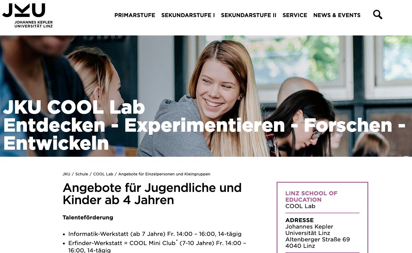 JKU Linz: Informatik-Werkstatt