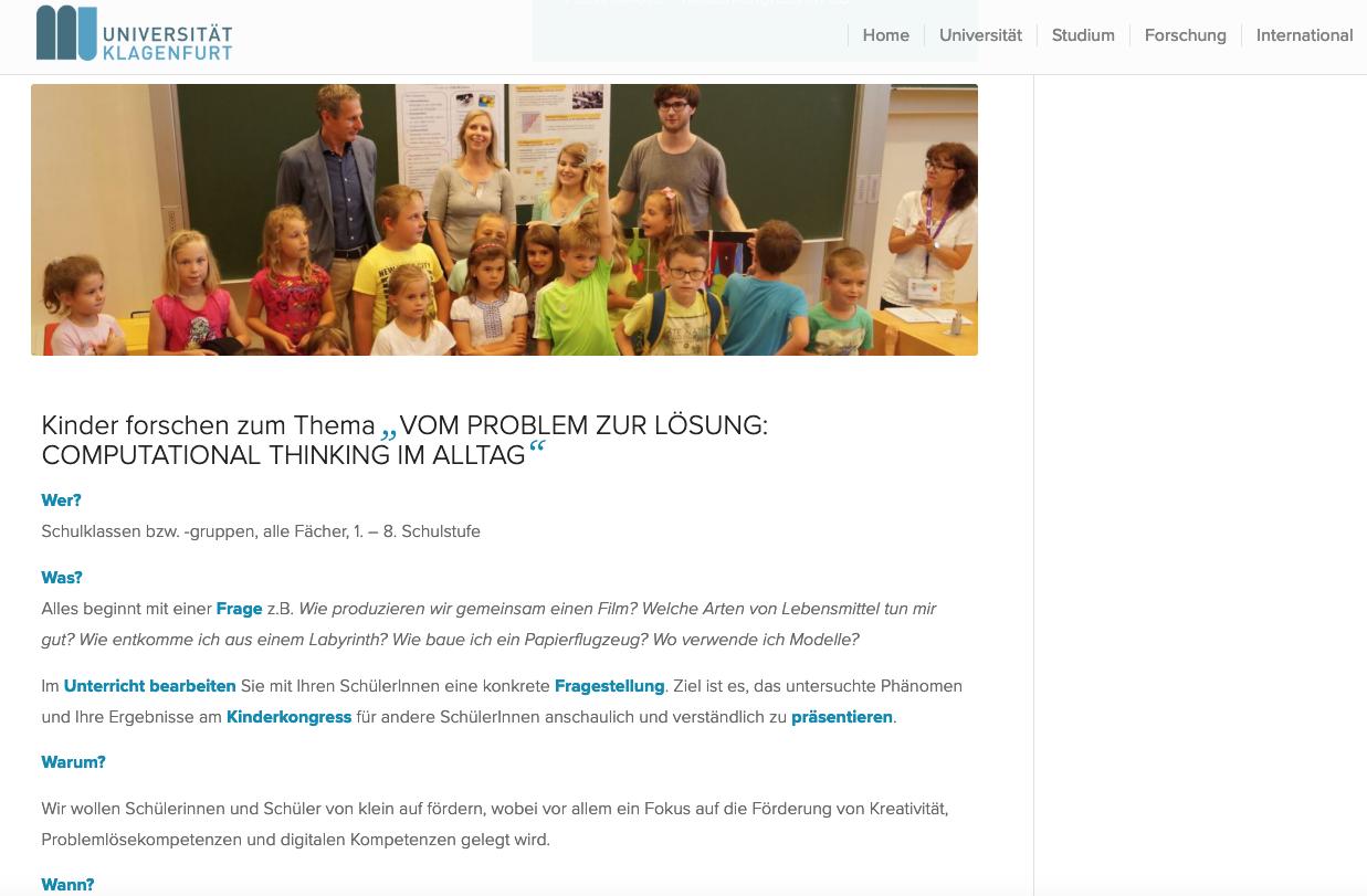 AAU Klagenfurt: Kinderkongress