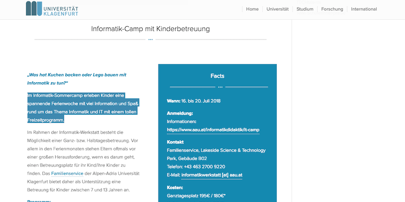 AAU Klagenfurt: Informatik-Camp