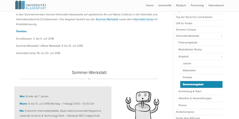 AAU Klagenfurt: Sommerwerkstatt